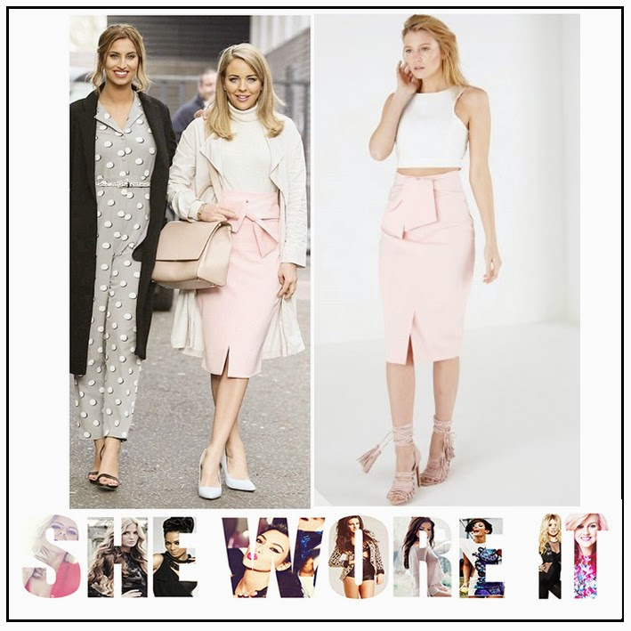 Bella Sorella, Blush, Celebrity Style, Fitted, High Waisted, Lavish Alice, Lydia Bright, Nude, Oversized Tie Detail, Pastel Pink, Pencil Skirt, Spilt Detail, The Only Way Is Essex, TOWIE,