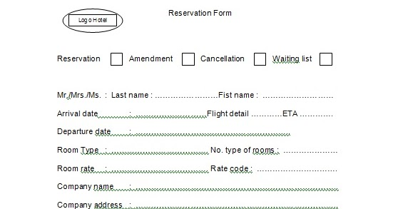 Contoh Reservation Form  Adriana