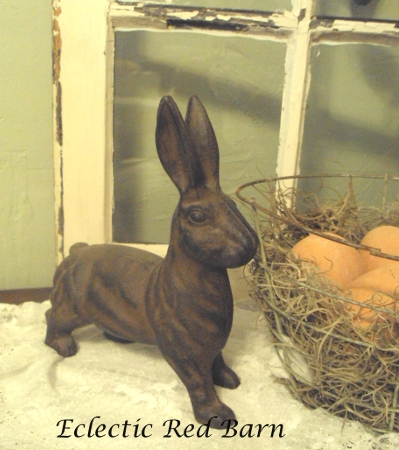 Eclectic Red Barn: Old window, bunny and wire basket