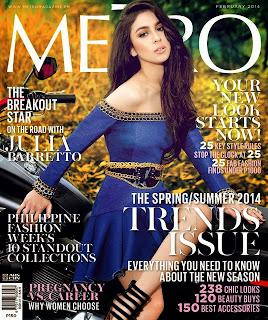 Magazine Cover : Julia Barretto Magazine Photoshoot Pics on Metro Magazine Philippines February 2014 Issue