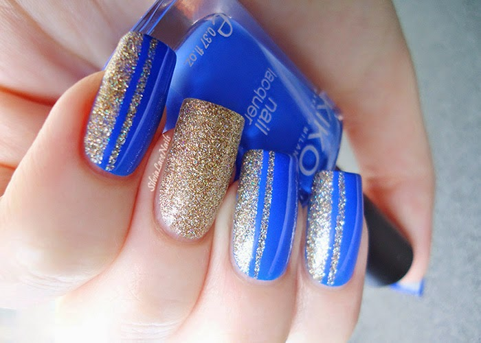 Blue and gold glitter nail art - Silvia Lace Nails: Blue And Gold Glitter Nail Art