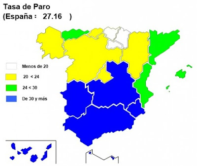 carte du chomage en Espagne.