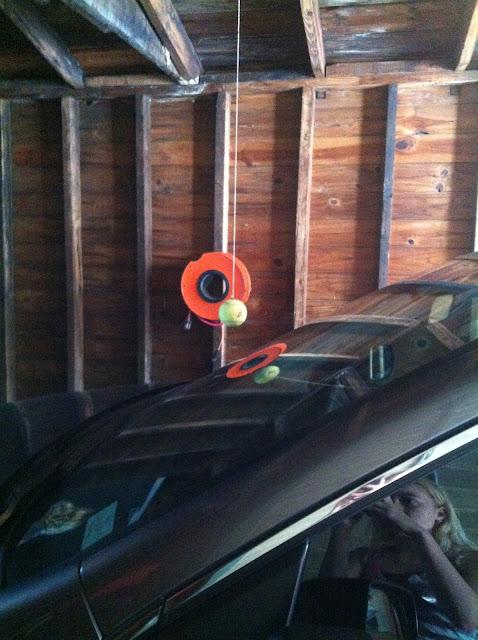 tennis ball hanging in garage