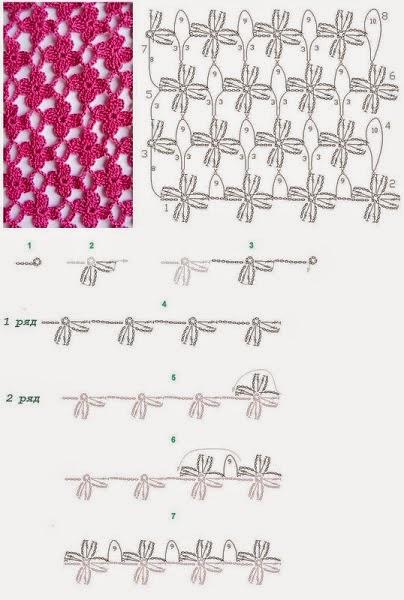Вязание цветочные узоры крючком схемы 91