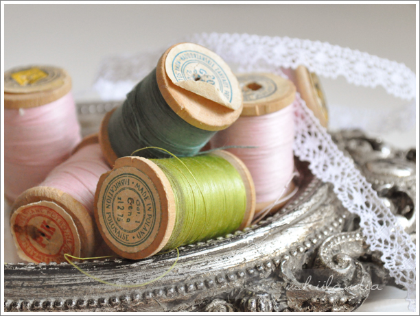stare drewniane szpuki nanici / vintage wooden spools