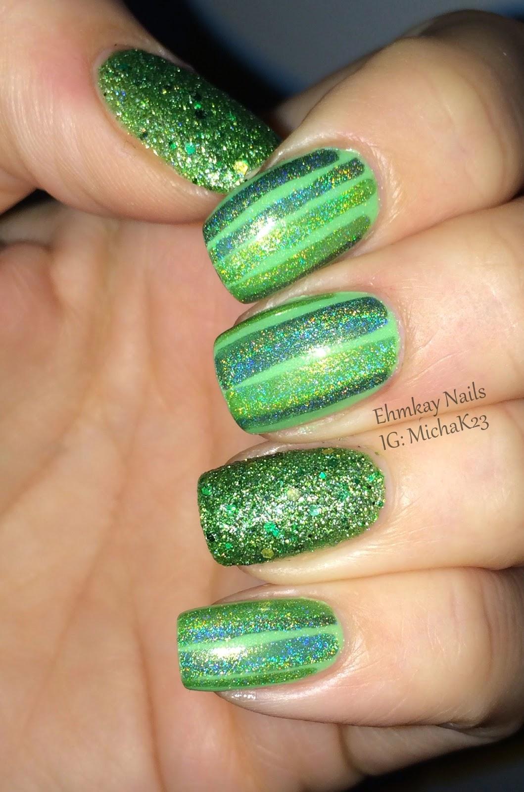 Easy St Patricks Day Nail Designs : Ehmkay nails easy st patrick s day nail art with red dog designs