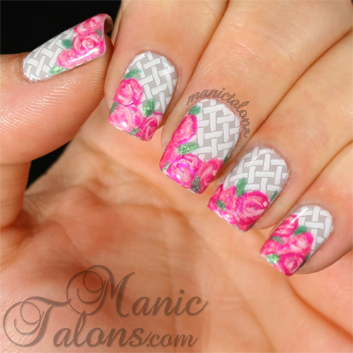 Manic Talons Basket of Roses Manicure