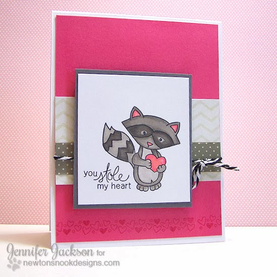 Raccoon Valentine using Sweetheart Tails Stamp set by Newton's Nook Designs!
