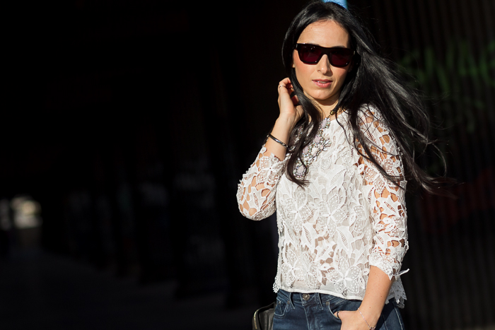 White Guipure Blouse Studded Leather Jacket by Zara and Blue Ink Meltin' Pot Jeans