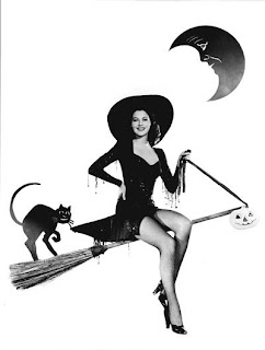 Halloween Pinup Girl Witch Black Cat Broomstick