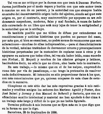 Prólogo de la edición de 1891 del libro de Josep Brunet i Bellet sobre el origen del ajedrez (2)