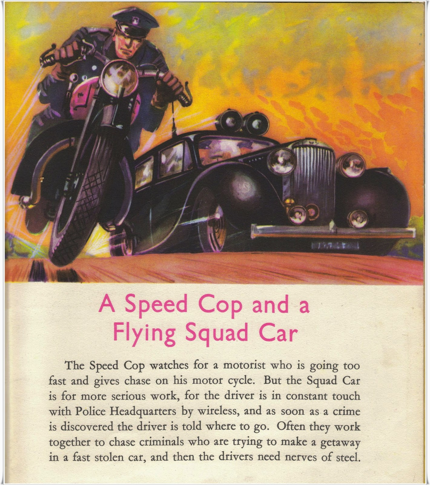 1950s police motor cop and squad car