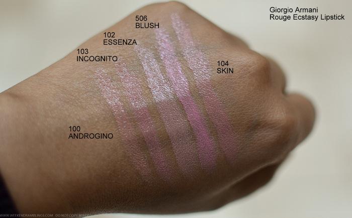 Giorgio Armani Rouge Ecstasy Lipstick Swatches 100 Androgino 103 Incognito 102 Essenza 506 Blush 104 Skin