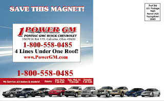 Back of automotive magnet mailer with business card magnet