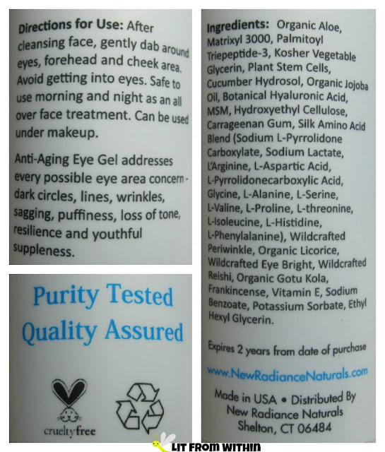 New Radiance Naturals Anti-Aging Eye Gel