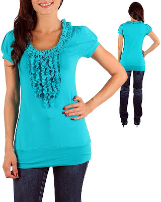 blue cotton tops with ruffles