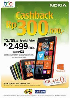 Perpanjangan Promo Nokia lumia 625 Cashback Rp 300.000