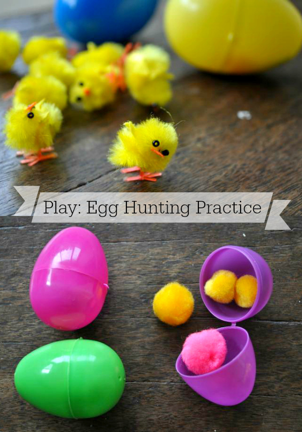 Easter eggs, plastic eggs, intentional play, egg hunt, toddler fun
