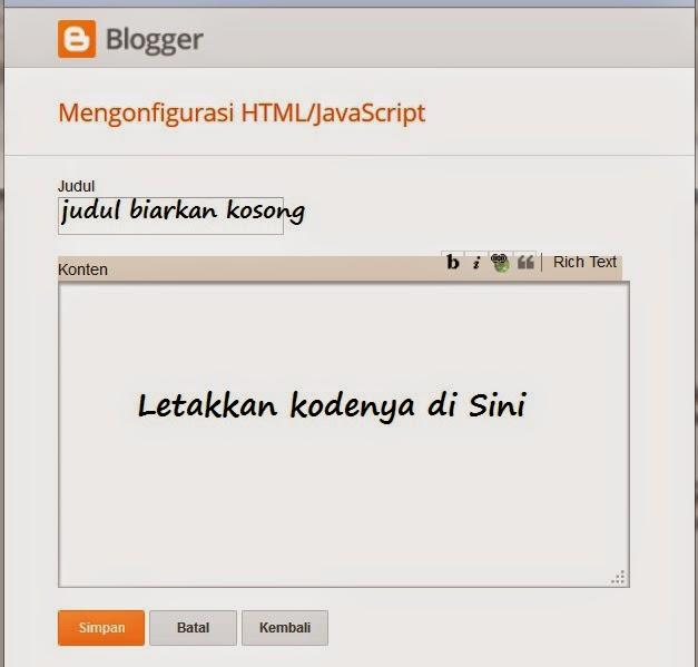 Cara Tambahkan Widget HTML/JavaScript