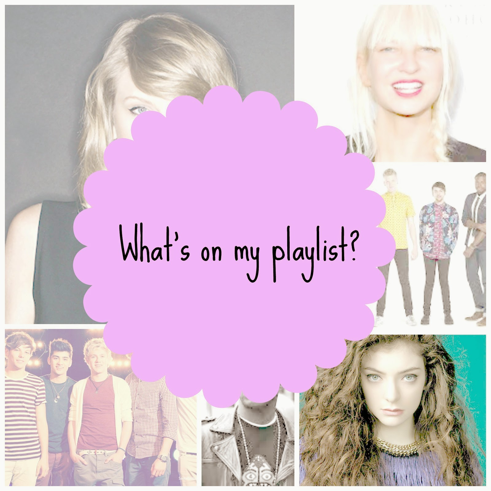 playlist, taylor swift, sia, one direction, kid cudi, lorde, pentatonix,
