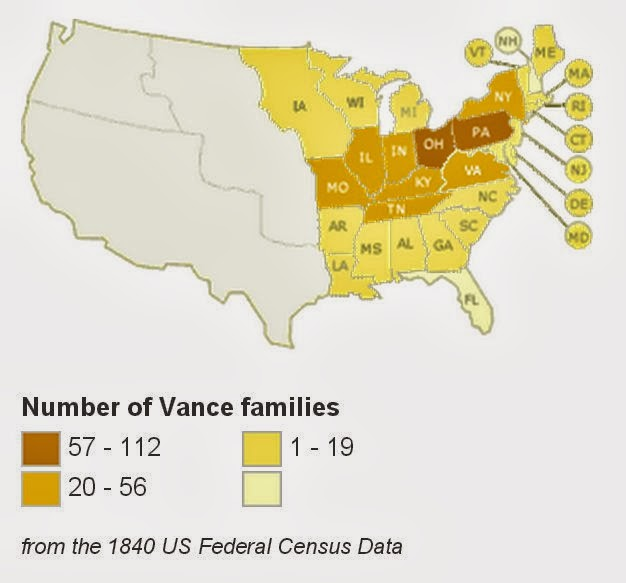 Vance History Online Spread Of The Vance Surname - Map of the us 1840