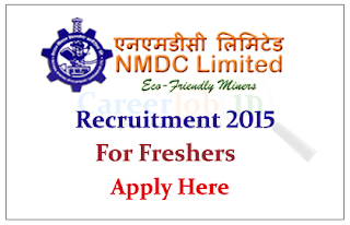 NMDC Limited Recruitment 2015 for Freshers for the Post of Junior Officer