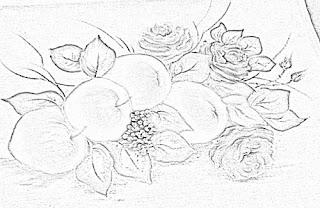 risco maças e rosas para pintar