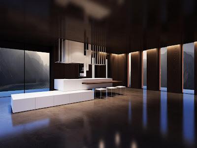 Interior Dapur dan Ruang Makan warna coklat
