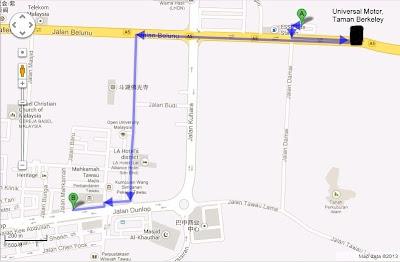 Peta tempat pemulangan kereta sewa tawau j3