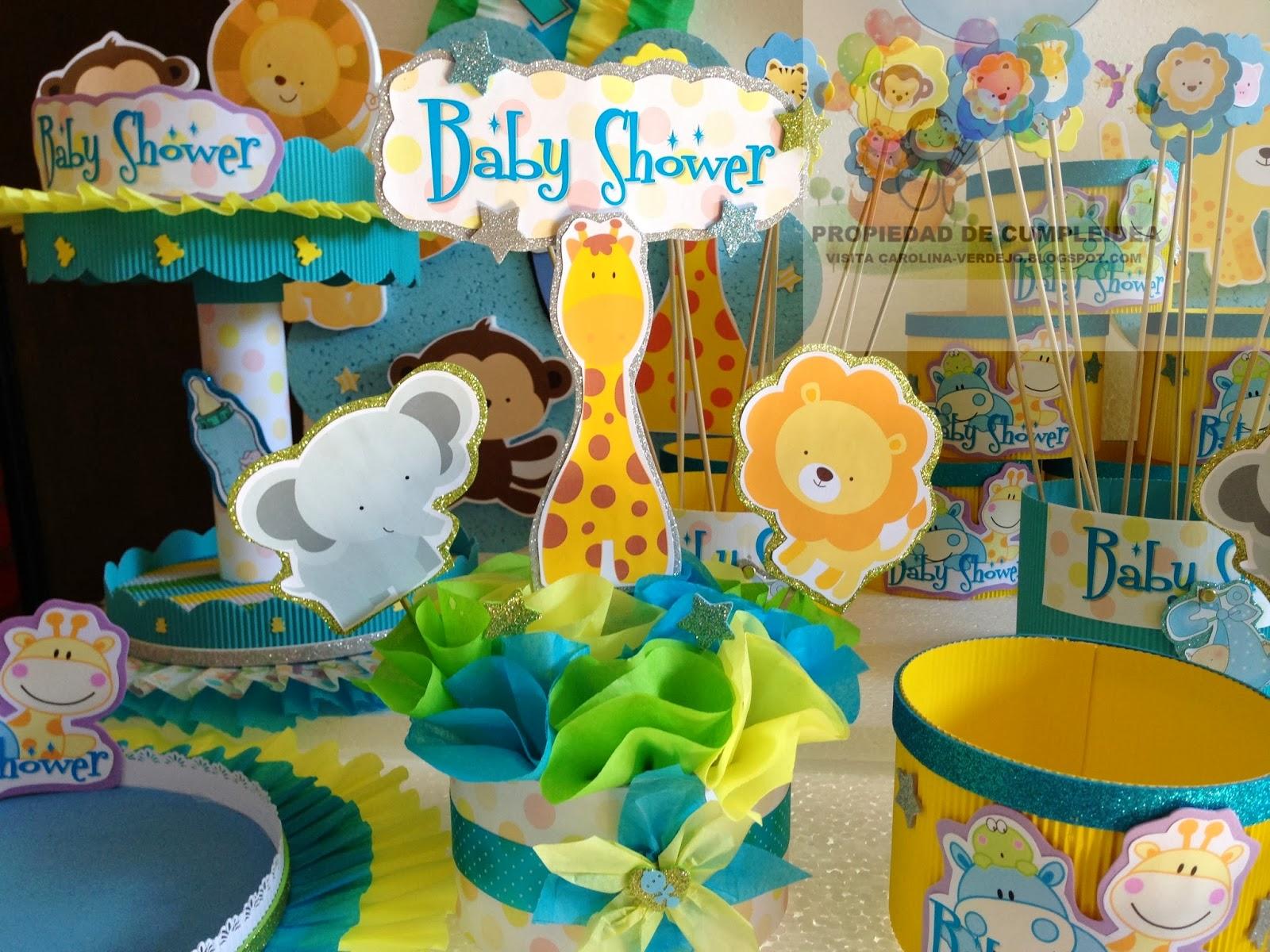 Decoracion baby shower varon con animalitos - Adornos baby shower nino ...