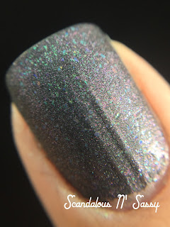Emerald & Ash Your Face CosmoProf Vegas exclusive over black polish macro