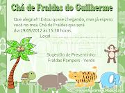 Convite Chá de Fralda Floresta. Personalização R$ 12,00