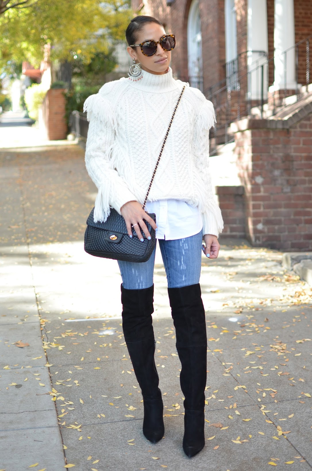 Fall style, fringe sweater, Coach Fall A/W collection, Aran fringe sweater Coach, OTK boots