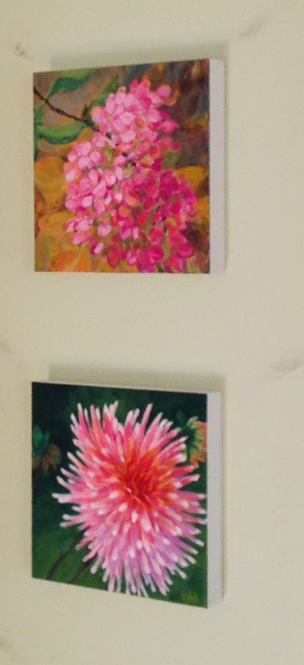 pink flower paintings of chrysanthemum and pink hydrangea