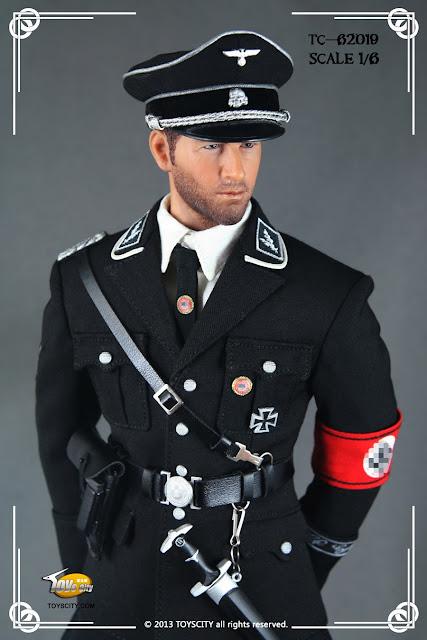 Waffen ss officer s black service uniform set for 12 inch figures