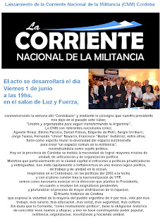 Acto en Cordoba de la Corriente de la Militancia