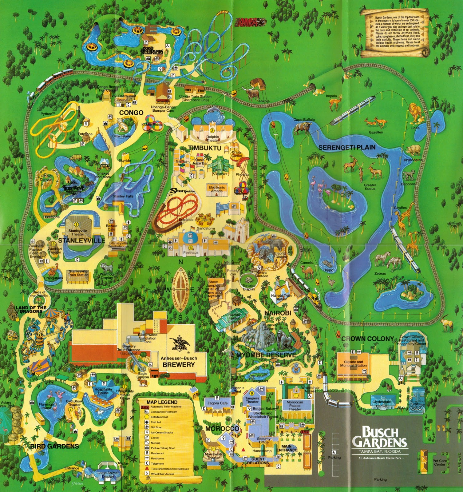 NewsPlusNotes: From The Vault: Busch Gardens Tampa 1995 Map