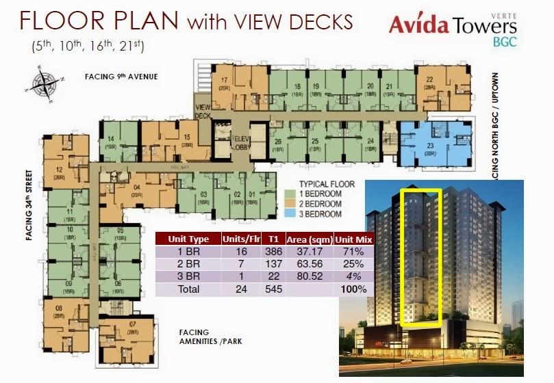Floor plan with view deck of avida tower verte condo fort bonifacio
