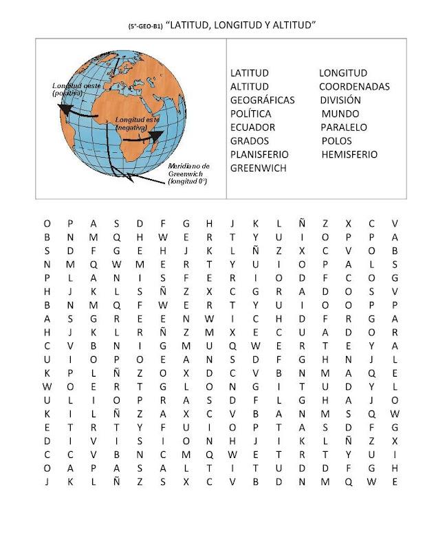Sopa de letras de latitud, longitud y altitud