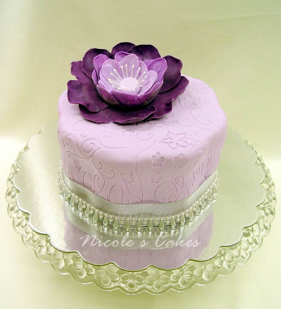 On Birthday Cakes Precious Purple Flower Cake