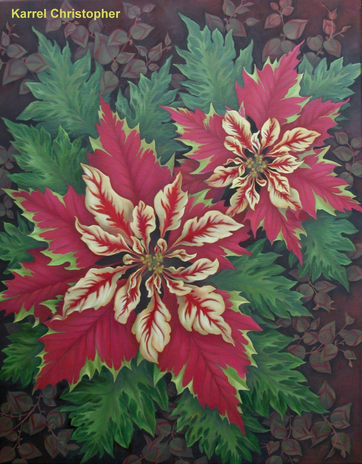 POINSETTIA  oil on canvas