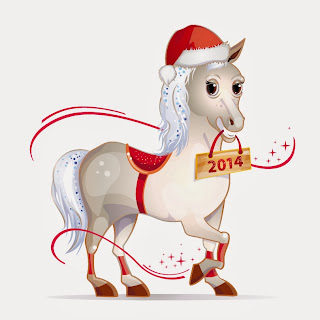 2014-Year-of-Horse-Cartoon-Card-Design-clipart-PSD-Vector