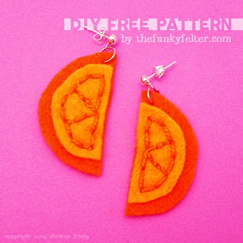 free felt orange slice earrings printable pattern by the funky felter