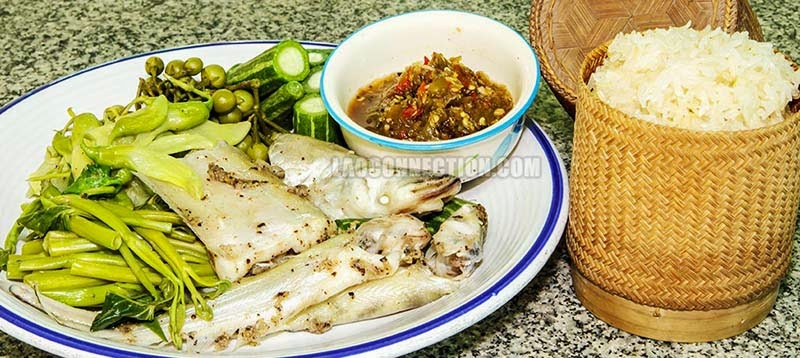 Image of Lao food - Steamed Fish and Veggies -  ນຶ່ງປານຶ່ງຜັກ