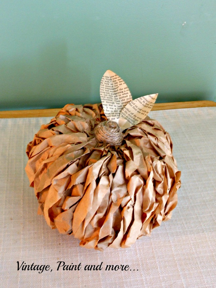 Vintage, Paint and more... rustic pumpkins made from dollar store pumpkins and brown paper lunch bags