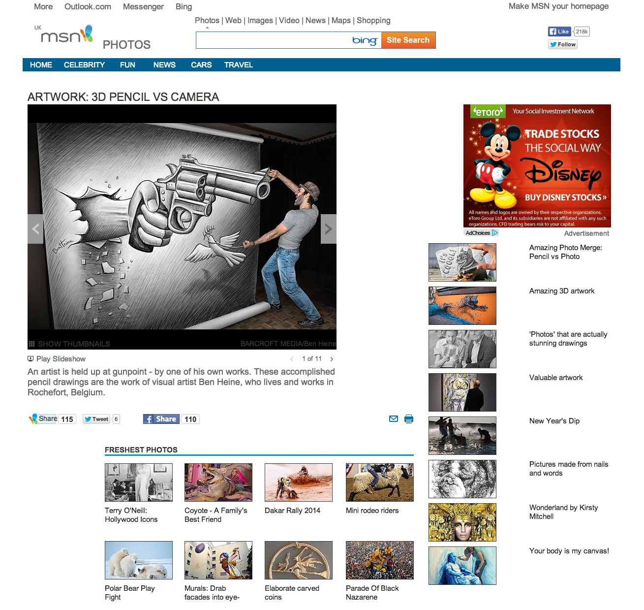 Ben Heine Art - News Article on MSN - Uk (January 2014)