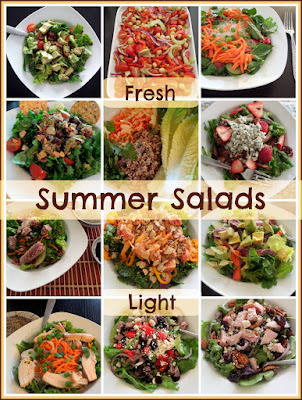 Fresh and Light Summer Salads:  A round-up of 12 fresh and light salads to keep you cool (and full) this summer.