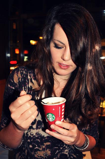 Enjoying Toffee Nut Latte