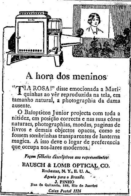Propaganda do Projetor Balopticon em 1924. Modernidade para aquela época em projeção.