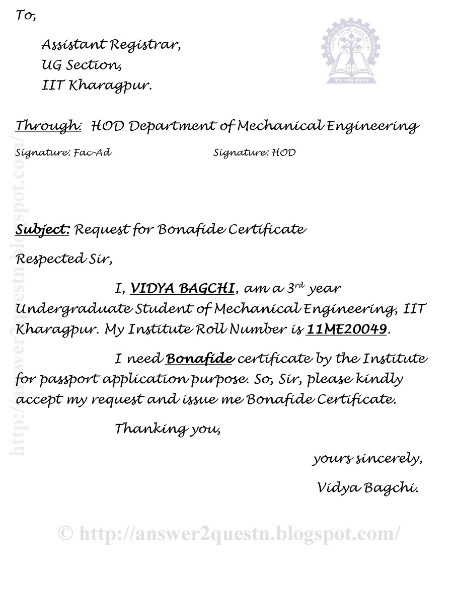 Questions answers sample application for bonafide certificate sample application for bonafide certificate iit kharagpur yelopaper Choice Image